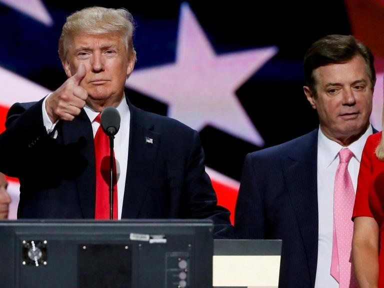 Donald Trump is seen with Paul Manafort during the Republican National Convention in July 2016