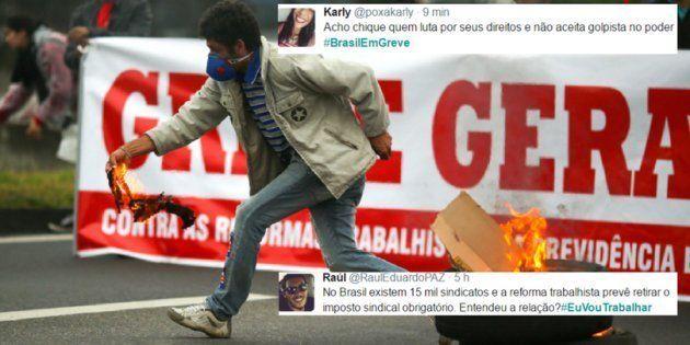 As tags #EuVouTrabalhar e #BrasilEmGreve dividem opiniões dos