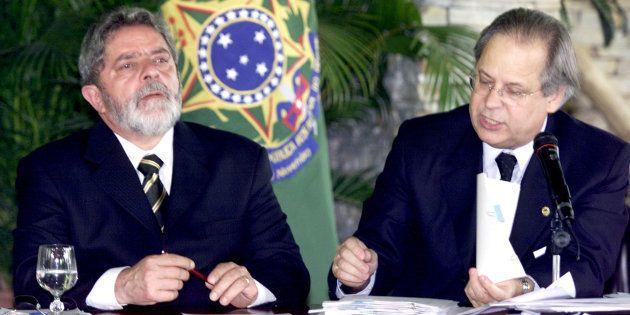 Lula e seu então chefe da Casa Civil, José Dirceu, na reunião dos 40 primeiros dias do 1º mandato petista,...