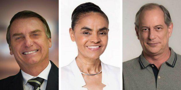 Jair Bolsonaro, Marina Silva e Ciro Gomes são, no momento, os presidenciáveis que mais pontuam no