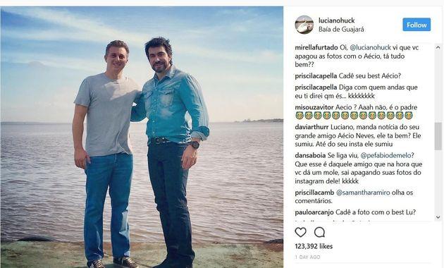 Oi, Luciano. Vi que você apagou as fotos com o seu amigo Aécio Neves. Tá tudo