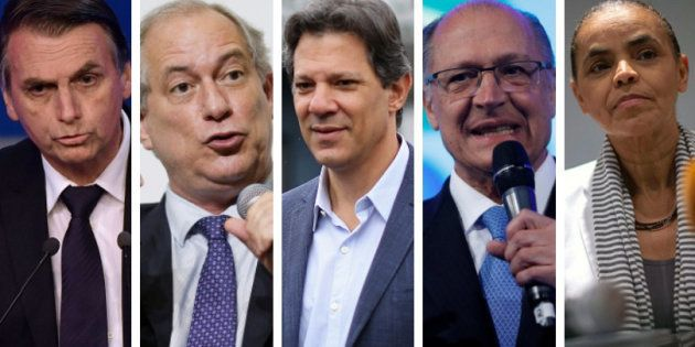 Bolsonaro, Ciro, Haddad, Alckmin e Marina são os 5 candidatos competitivos em
