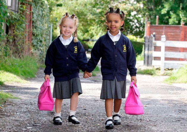 Marcia e Millie no primeiro dia do ensino