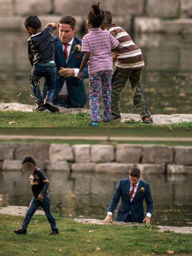 A história do noivo que se tornou herói ao salvar garoto de afogamento durante sessão de fotos de