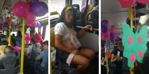 O ônibus se transformou em uma grande festa: balões, cartazes, comidinhas e refrigerantes e muitas fraldas...