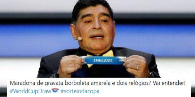 Diego Maradona e sua gravata foram os destaques do sorteio da Copa do Mundo