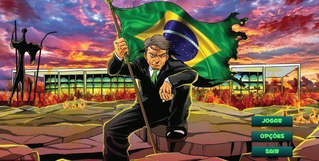 Reprodução de imagem de abertura do jogo em que avatar de Bolsonaro agride pessoas para