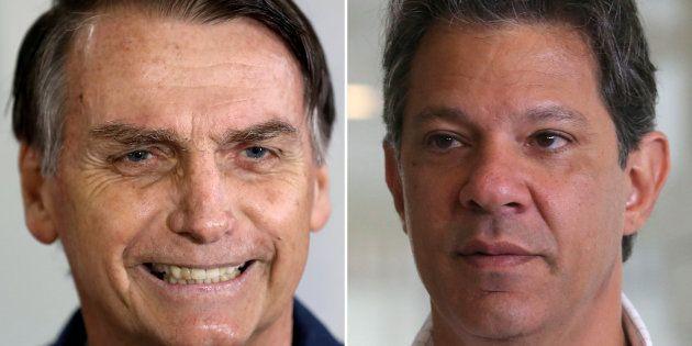 Jair Bolsonaro está na frente de Fernando Haddad na disputa pela Presidência da República, segundo o