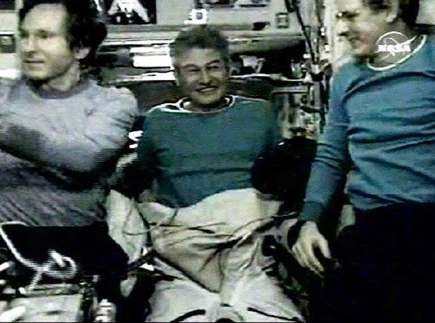 O russo Valery Tokarev (esq.), Pontes (no meio) e o americano Bill McArthur