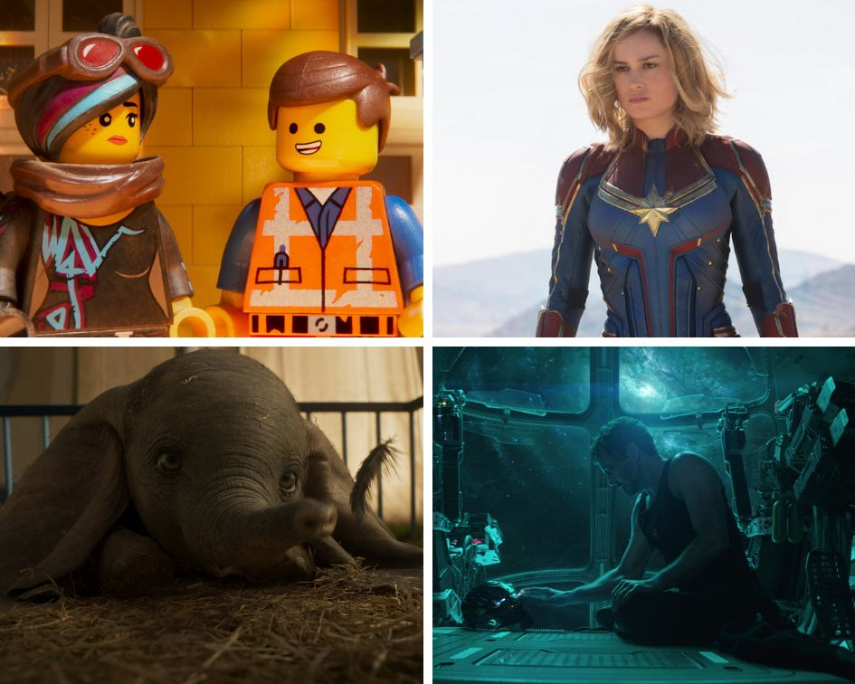 "Clockwise from top left: ""The Lego Movie 2: The Second Part,"" ""Captain Marvel,"" ""Avengers: Endgame"" and ""Dumbo."""