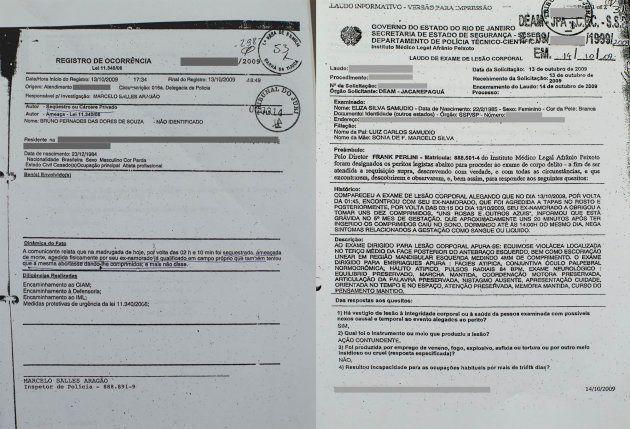À esquerda, o boletim de ocorrência registrado por Eliza; à direita, o laudo do exame de corpo de delito...