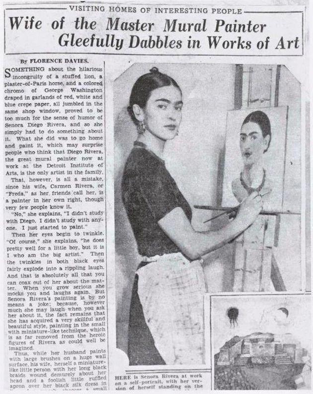 Um jornal em 1933 descreveu Frida Kahlo apenas como 'mulher de Diego