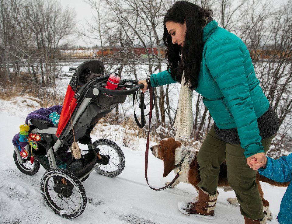 Nina Kouprianova walks with her children in Whitefish,