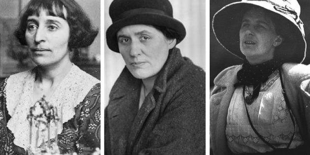 Da esquerda para a direita: A escritora Alice Babette Toklas, a poeta Anna Wickham e a escultora Kathleen