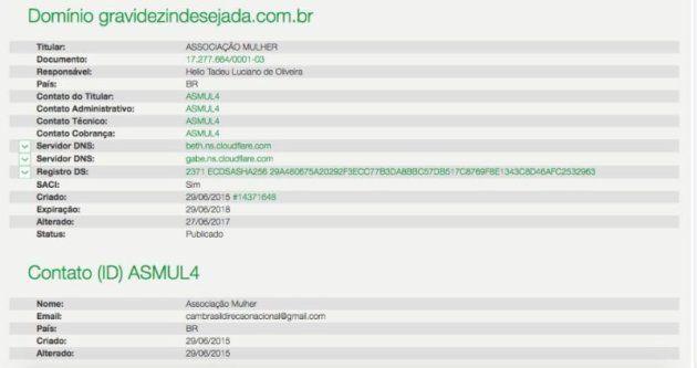 Uma busca ao domínio do site revela o nome do padre Hélio Tadeu Luciano de Oliveira como