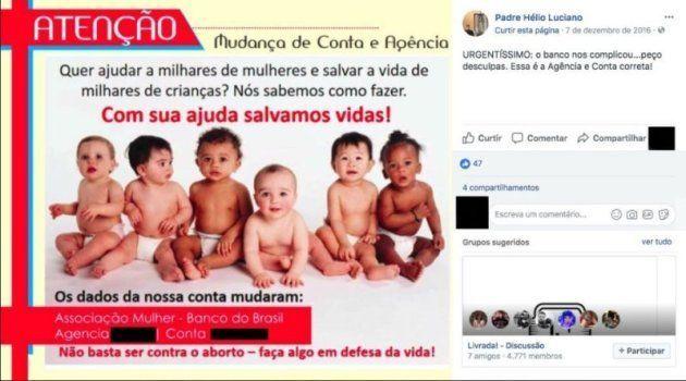 O padre Hélio Luciano utiliza o Facebook para pedir