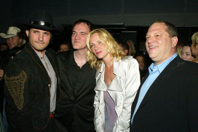 Da esquerda para a direita: O diretor e músico Robert Rodriguez, o diretor Quentin Tarantino, a atriz...