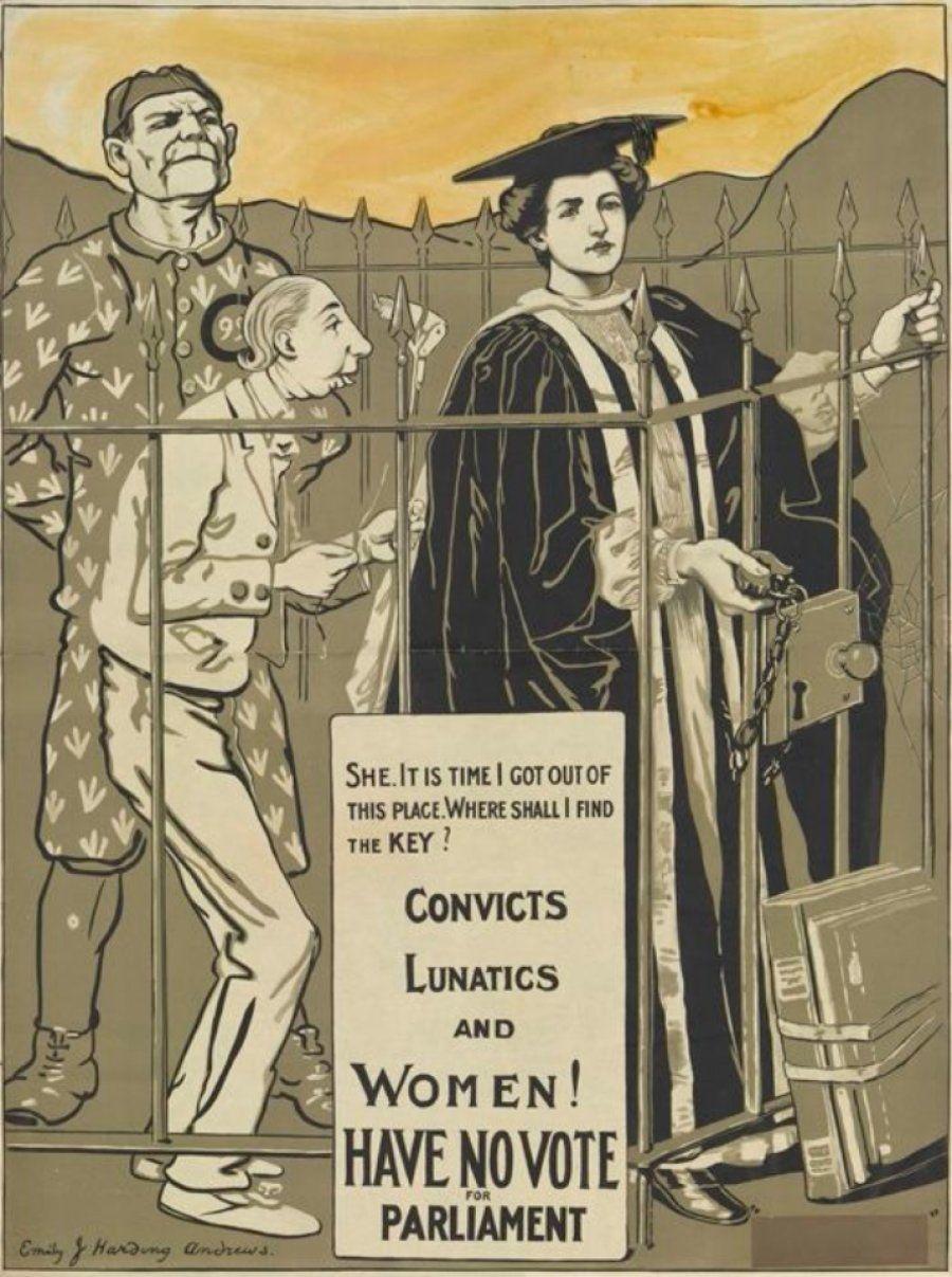 Com questionamentos sociais, um dos cartazes mostra uma mulher comtrajes acadêmicos encarcerada ao lado...