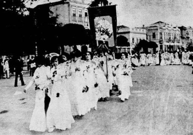 Integrantes do PRF em passeada no Rio de Janeiro. Foto datada entre 1910 e