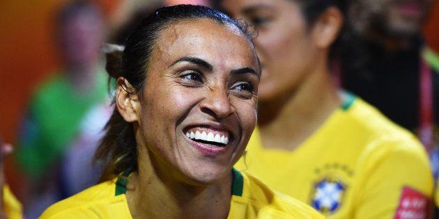Marta durante a Copa do Mundo Feminina da FIFA, em