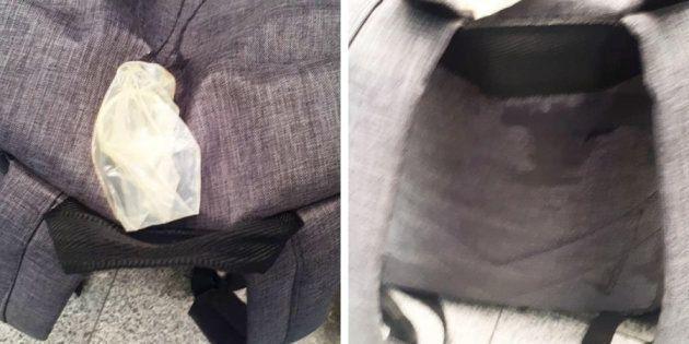 Imagens da mochila de Rebecca Barboza, de 25 anos. A jovem encontrou um camisinha usada em sua mochila...
