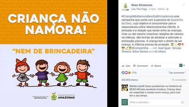 Campanha contra o incentivo ao namoro entre crianças no Amazonas vira alerta para todo o