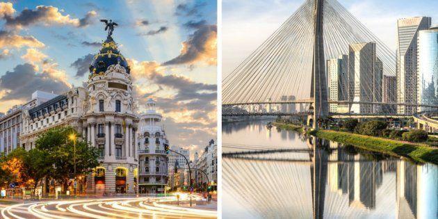 À esqueda, está a Gran Via de Madrid, principal avenida da capital espanhola. À direita, a Ponte Estaiada, um dos símbolos de São Paulo.