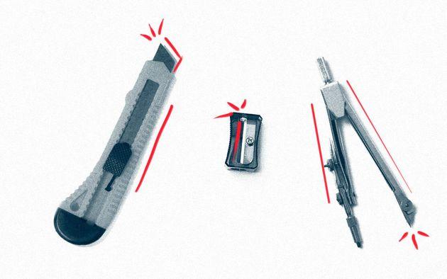 Objetos do cotidiano escolar, como estilete, lâmina de apontador e compasso, podem ser usados para a
