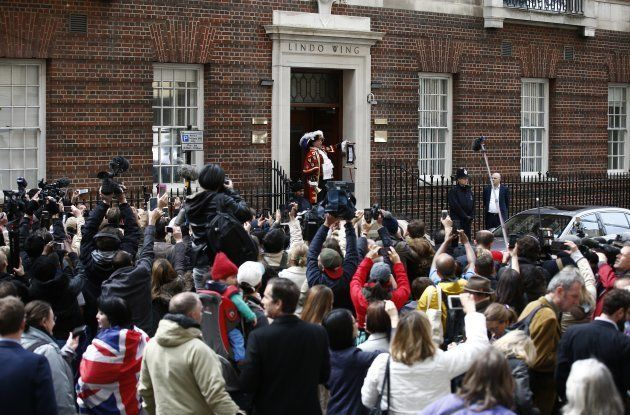 Town crier Tony Appleton announces the birth of Princess Charlotte outside the Lindo wing at St. Mary's Hospital on May 2, 2015.