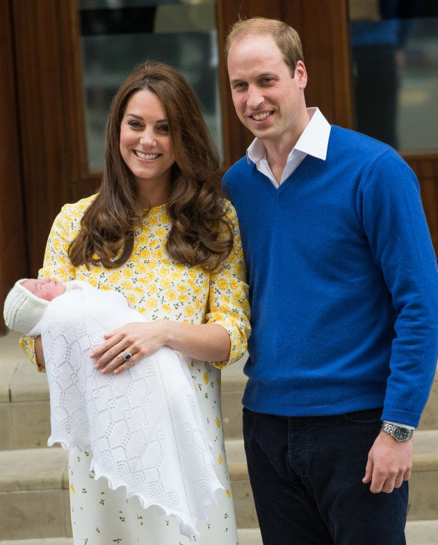 The Duke and Duchess of Cambridge depart St. Mary's Hospital with newborn Princess Charlotte on May 2, 2015.