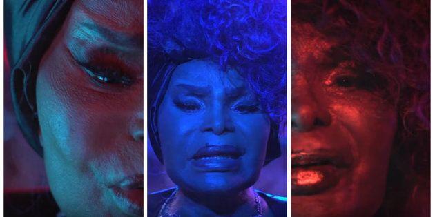 Frames de Elza Soares no vídeo de 'A Mulher do Fim do