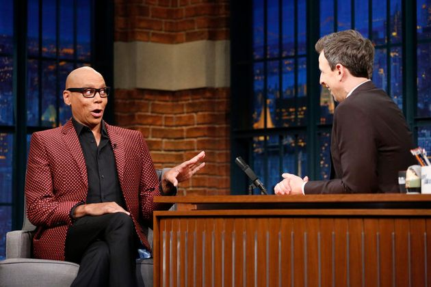 LATE NIGHT WITH SETH MEYERS -- Episode 498 -- Pictured: (l-r) RuPaul during an interview with host Seth...