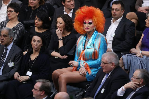 BERLIN, GERMANY - FEBRUARY 12: Drag queen Olivia Jones attends the election of the new president of Germany...