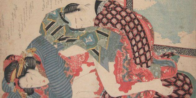 Obra 'Dia de Ano Novo' (1835) do artista japonês Keisai