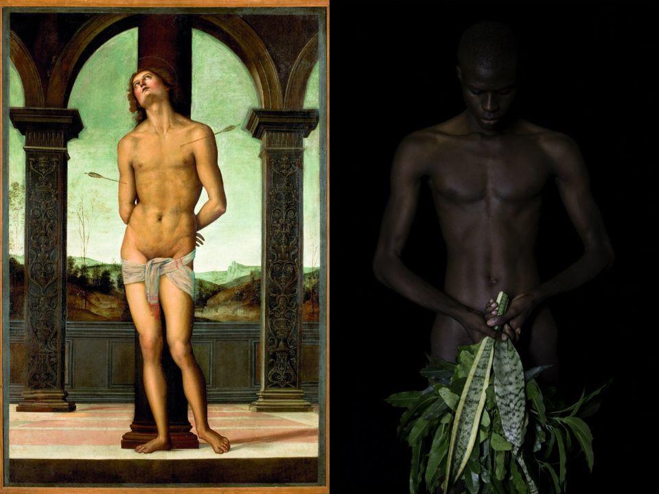 Do lado esquerda, obra de Pietro Perugino. Ao lado direito, trabalho de Ayrson