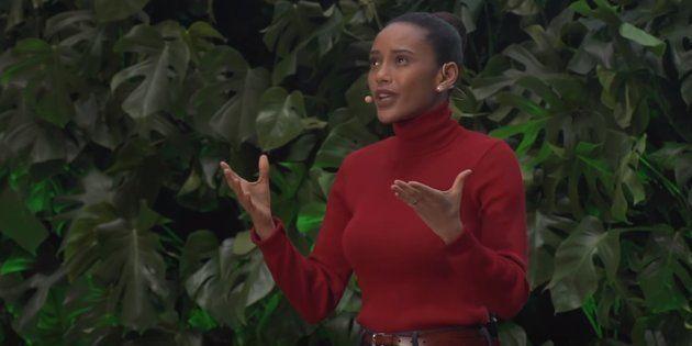 Taís Araújo durante discurso no TEDxSaoPaulo, em agosto deste