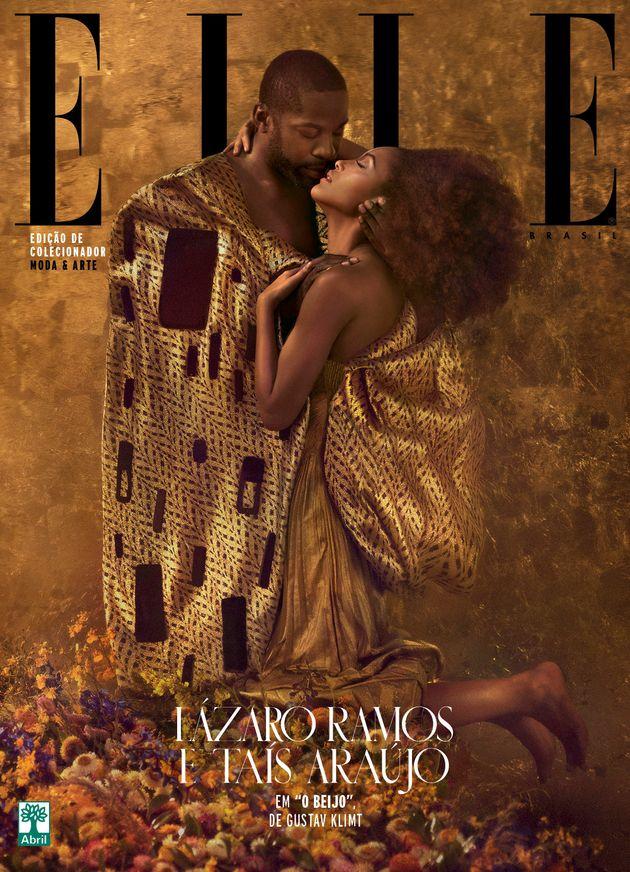 Taís Araújo e Lázaro Ramos estão entregues à beleza da obra 'O Beijo' na ELLE