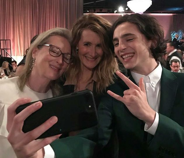 Meryl Streep, Laura Dern e Timothée Chalamet no Oscars Lunch, evento com os indicados ao Oscar