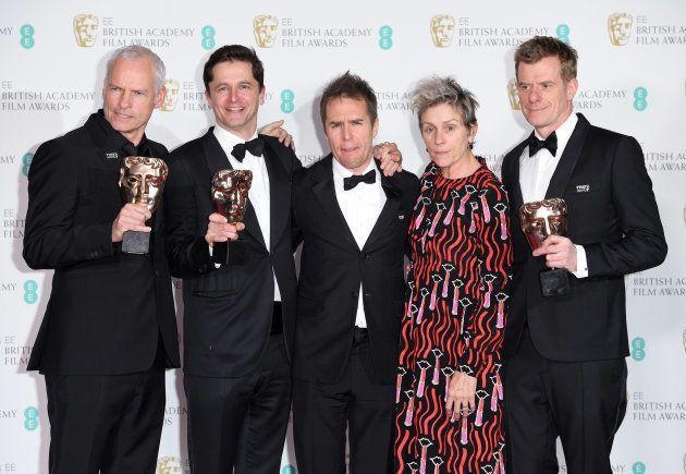 Equipe de 'Três Anúncios Para um Crime', ganhador do prêmio de melhor filme no Bafta