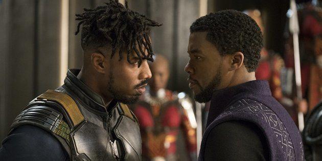 Michael B. Jordan e Chadwick Boseman em cena de 'Pantera Negra', dirigido por Ryan