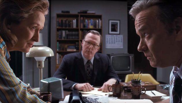 Meryl Streep (à esq.) e Tom Hanks interpretam Kay Graham e Ben Bradlee em drama que concorre ao prêmio...