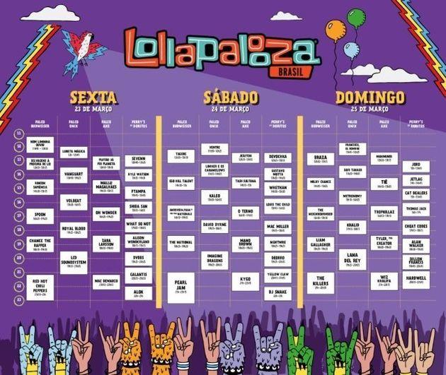 Shows do Lollapalooza 2018 acontecerão em 4 palcos