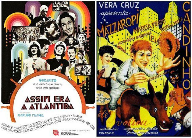 Cartazes de 'Assim Era a Atlântica' e 'Candinho', clássicos do cinema nacional disponíveis no site da