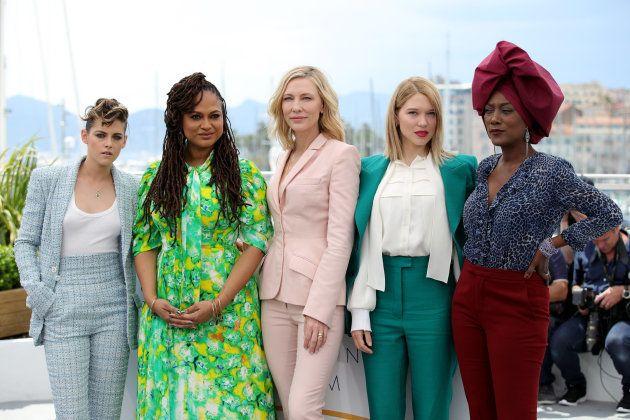 Da esquerda para direita: Kristen Stewart, Ava DuVernay, Cate Blanchett, Léa Seydoux e Khadja Khadja...
