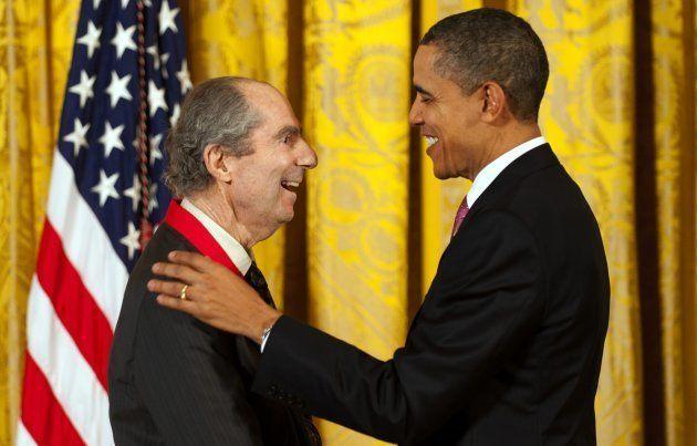 O ex-presidente Barack Obama e o romancista Philip