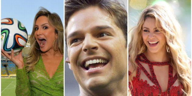 Claudia Leitte, Ricky Martin e Shakira, três artistas que já marcaram a história musical das
