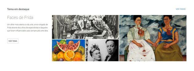 Frida Kahlo está em destaque entre os conteúdos do app Google Arts &
