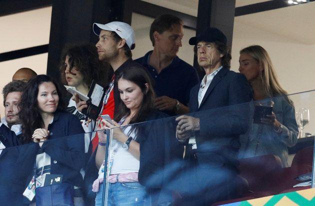 Mick Jagger nesta quarta-feira (11) na torcida pela Inglaterra, no Luzhniki
