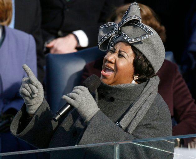 Aretha Franklin durante a posse de Obama em