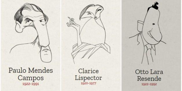 Caricaturas dos escritores feitas por Cássio Loredano compõem visual do